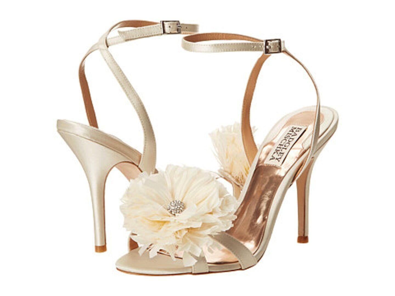 Badgley Mischka KAROL Wedding Bridal heel sandals strap shoes Ivory 8,5 NEW