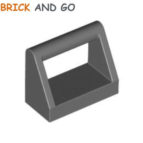 Flat Tile 1x2 Handle new New 6 X LEGO 2432 Plate Handle Grey Dark Grey