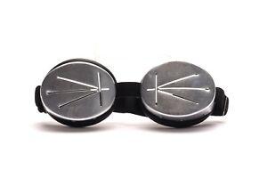 Motorradbrille-Regenschutz-Schlitzbrille-Silber-mit-Gummiband-Retro-Brille