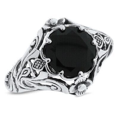 GENUINE BLACK AGATE ART NOUVEAU .925 ANTIQUE STYLE SILVER RING SIZE 6.75 #761