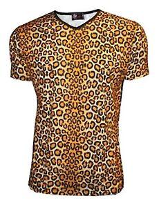 9120cc9fbaf Details about Men s Original Leopard Print Animal V Neck Top T-Shirt Party  Dress Up Punk Emo