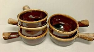 Set of 5 McCoy MCM Vintage Pottery Brown Drip Glaze Handled Soup Bowls 7050 EUC