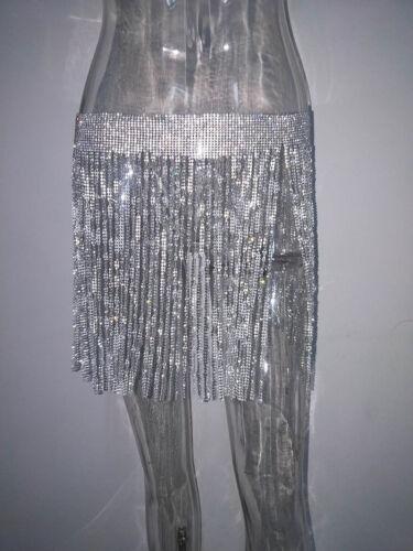 Bling Womens Crystal Tassel Skirt Glitter Body Chain Waist Party Night Clubwear
