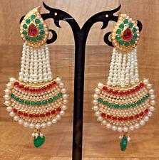New Indian Ethnic Gold Plated Pearl Moti Multi Color Jhumki Bali Jhumka Earring