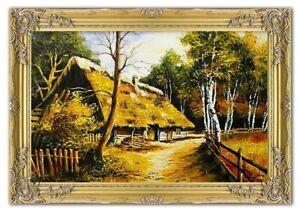 Bauernhof-Landschaft-Gemaelde-Handarbeit-Olbild-bild-Olbilder-Rahmen-BilderG01675