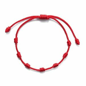 Lucky-Red-String-Bracelet-Kabbalah-Amulet-7-Knots-Protection-Rope-Unisex-Jewelry