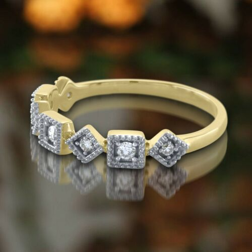 Details about  /0.14 Ct Round Cut Natural Diamond 14K Gold Engagement Wedding Eternity Band Ring