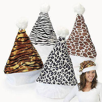 4 ANIMAL PRINT SANTA HATS Safari Zebra Leopard Giraffe Tiger Velour NEW