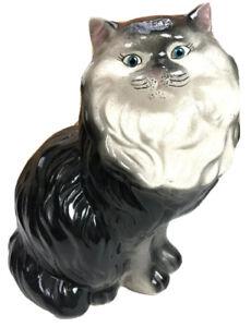 Cat-Kitten-Decor-HUGE-Black-White-Ceramic-Persian-14-034-Animal-Collectible