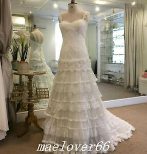 Details About Vintage Bohemian Wedding Dress Lace Tiered Tulle Boho Bridal Gowns Plus Size