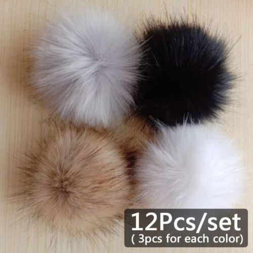 12Pcs Pompom Balls Faux Fur Fluff Craft For DIY Hat Shoes Scarves Bag Charm Tool
