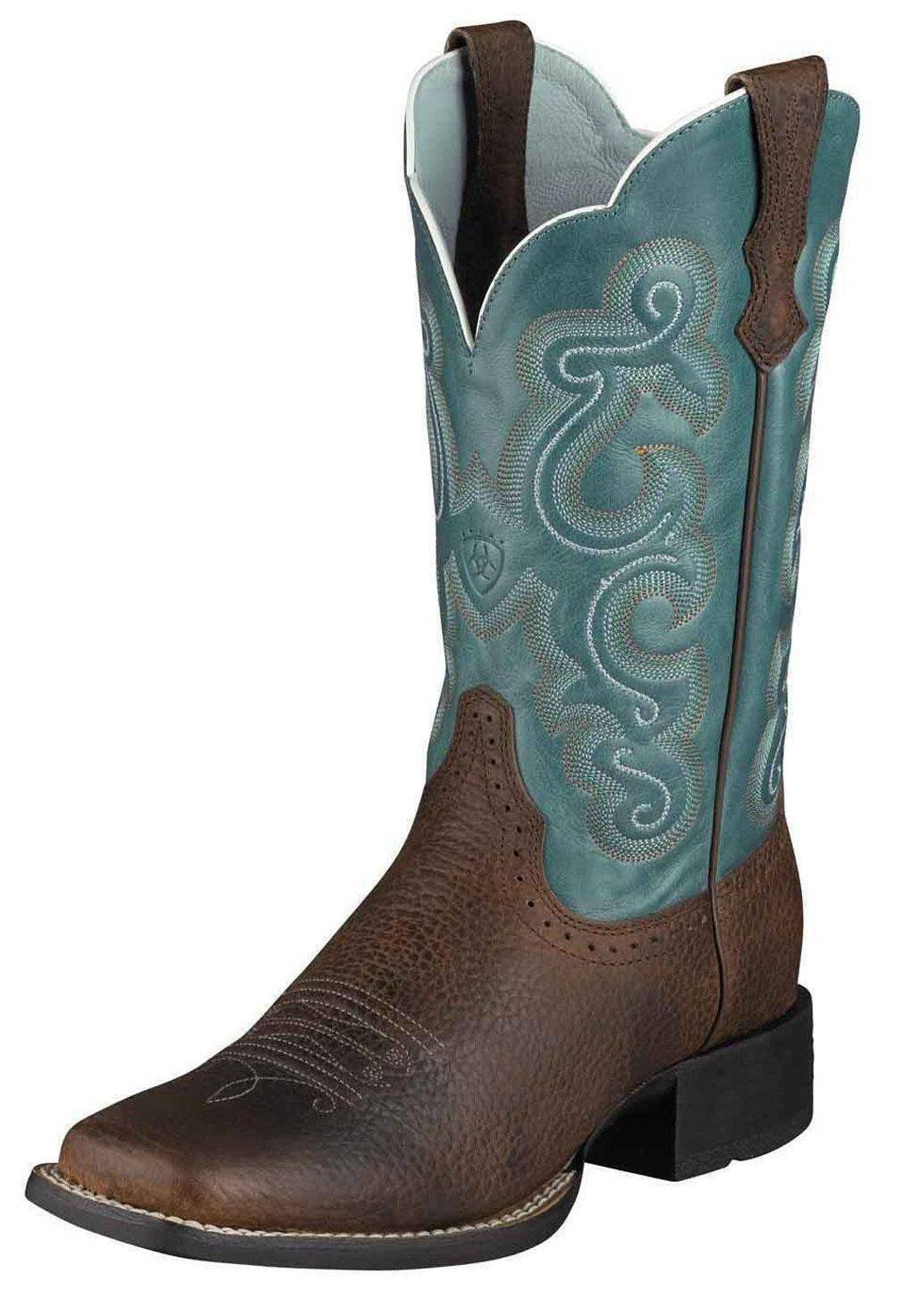 Ariat Women's Quickdraw bluee Fancy Stitched Cowgirl Boot Square Toe - 10004720
