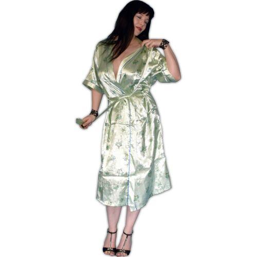 XL seidig glänzend MORGENMANTEL grün* M XXL * Negligee Pyjama Dessous L