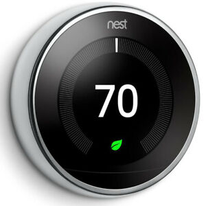 Google Nest Learning Thermostat 3rd Gen Smart Thermostat (Polished Steel) T3019U