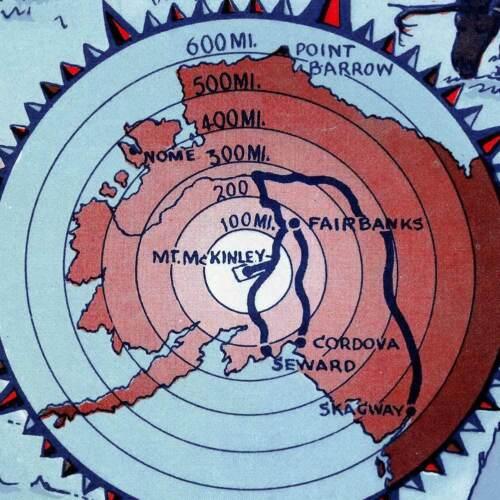 "McKinley National Park Alaska MAP circa 1937-24/"" x 32/"" Art Print Poster Mt"