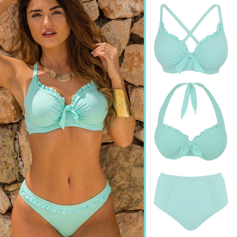 Pour Moi Damen Miami Brights Lightly Padded Halter Underwired Top Bikini