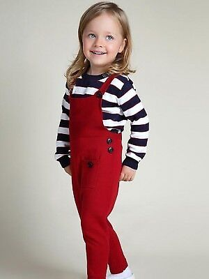 Girls Dungarees Knitted Overalls Strap Jumpsuit  Red//Blue Age 18M  to 4yrs