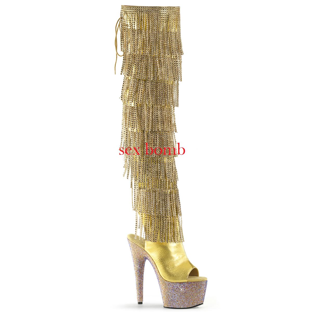 Stiefel Fransen 35 Strass Ferse 18 von 35 Fransen bis 40 Gold Plateau Sandalen Sexy Schuhe f4e911