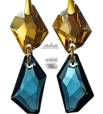 EARRINGS SWAROVSKI CRYSTALS *MONTANA GOLD*  24K GP STERLING SILVER