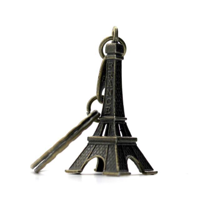 Retro Mini Paris Eiffel Tower Model Keychain Keyring Metal Split KeyRing KK Gift