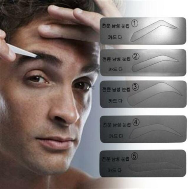Fashion 5 Types Men Eyebrow Stencils Brow Card Template Makeup Tool
