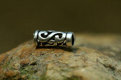 Bartperle Perle Silber Keltische Spiralen mit Gummi Sterlingsilber Haarperle