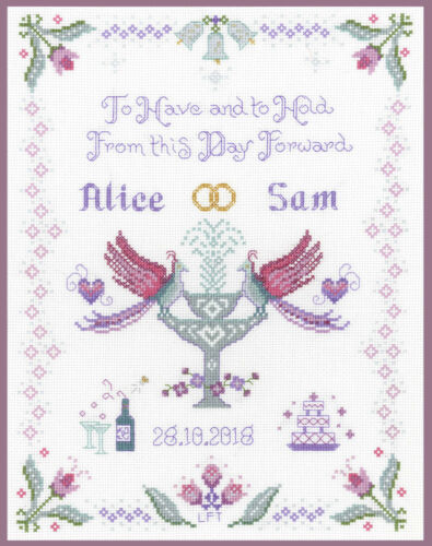 Campionatore di nozze Prugna-Completo Punto Croce Kit su 14 AIDA con cartella colori