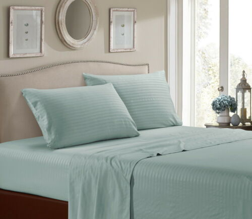 Ultra 1800 Thread Count Bamboo Microfiber Stripped 4PC Bed Sheet Set Deep Pocket