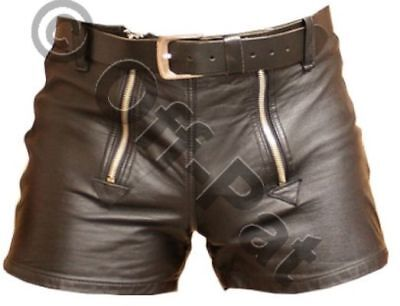 BRAND NEW 100/% Real Leather All Round zip shorts With double stripe