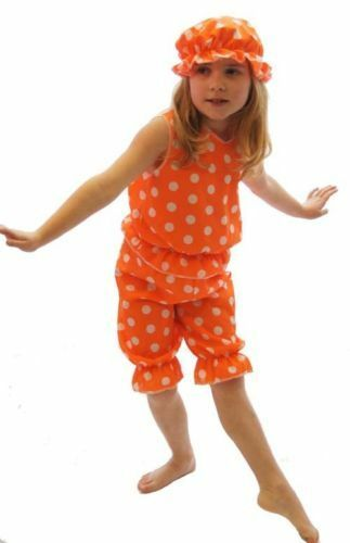 VICTORIAN Orange /& White Spot BATHING BELLE FANCY DRESS COSTUME All Ages
