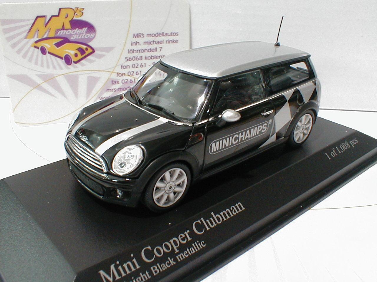 MINICHAMPS 431138672-MINI COOPER CLUBMAN année 2007  Noir Met.  1 43