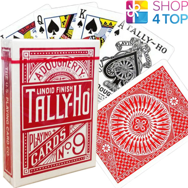 BICYCLE TALLY HO CIRCLE PLAYING CARDS DECKS STANDARD INDEX LINOID FINISH RED NEW