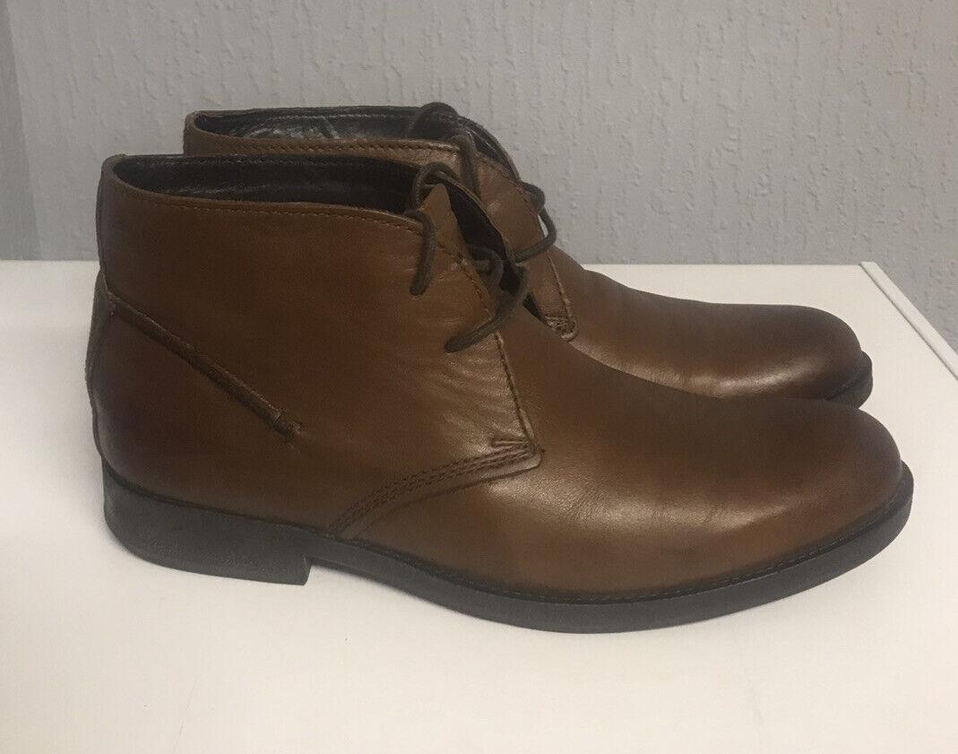 Clarks Paulson Mid Chukka Boots Dark Brown Leather 8 UK / 42 Tartan Work Men