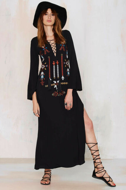"""Free People """"V""""collar Indiana embroidery cotton blend sexy skirt dress#5539"""