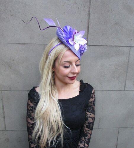 Lilac Lavender Purple Flower Feather Floral Disc Saucer Hat Fascinator Hair 6683