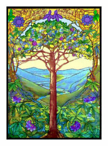 Louis Comfort Tiffany.Louis Comfort Tiffany Tree Of Life From Stained Glass Counted Cross Stitch Chart