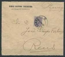 Spanien Firmenlochung/Perfin Brief Barcelona - Reus, 1912