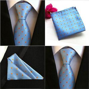 Men-New-Polka-Dots-Orange-Blue-Silk-Tie-Pocket-Square-Handkerchief-Set-Lot-HZ073