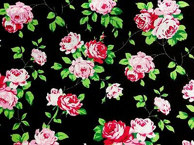Poly Cotton Fabric Black with Pink Daisy Flowers 112cm