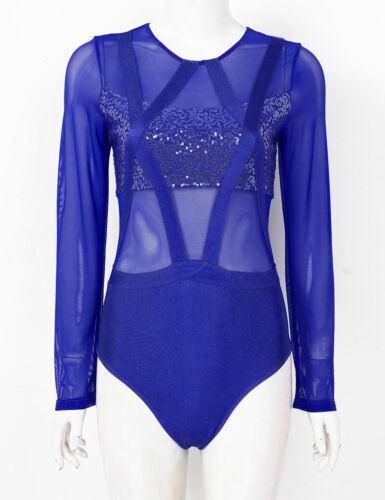 Details about  /Women Long Sleeve Mesh Ballet Leotard Gymnastics Dance Dress Work Out Costume