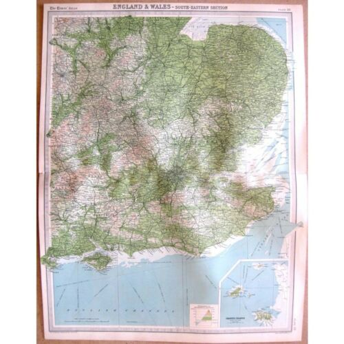 Guernsey ENGLAND South East inset of Jersey Vintage Map 1922 by Bartholomew