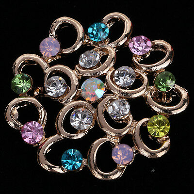 Elegant Rose Gold Flower Shape Colorful Crystal Brooch Pin Women Gift Party