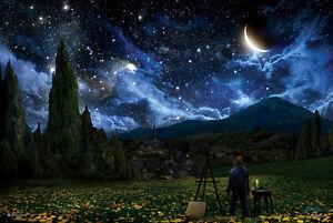 STARRY NIGHT - FANTASY ART POSTER - 24x36 STARS SKY SPACE MOON 10590