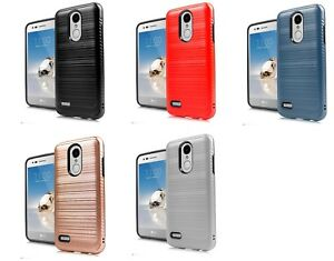 best authentic a1eae c5fc0 Details about For LG Rebel 4 LML212VL / LML211BL Lining Brush Hybrid Case  Phone Cover