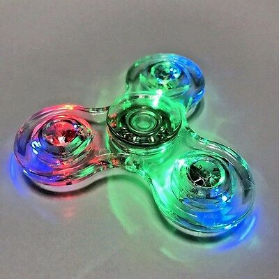 Fidget Spinner New Transparent Crystal Clear LED Light-Up Fidgetly Wholesale Lot