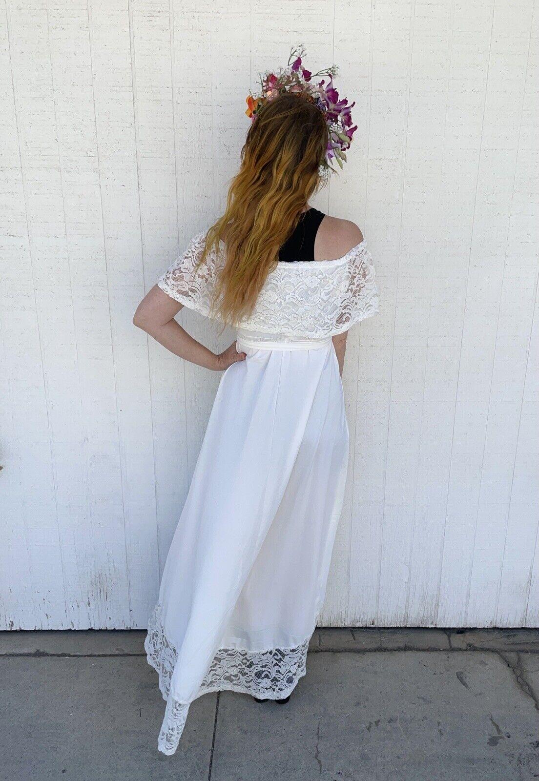 Vintage White Lace Gown Wedding Lingerie Prairie … - image 5
