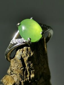 Certified Grade A Glassy Green Burma Jadeite Jade Ring / 925 Silver / Free Size