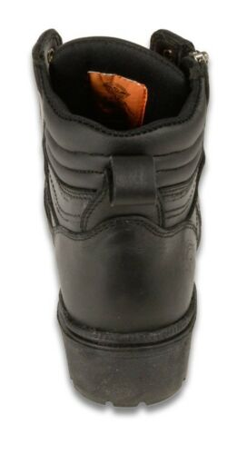 Milwaukee Leather Ladies Motorcycle Boot w// Side Set Zipper and Plain Toe Design