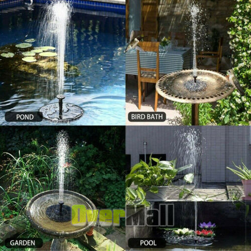 Upgraded Solar Power Fountain Bird Bath Water Pump Spray Kit Outdoor Pond Patio