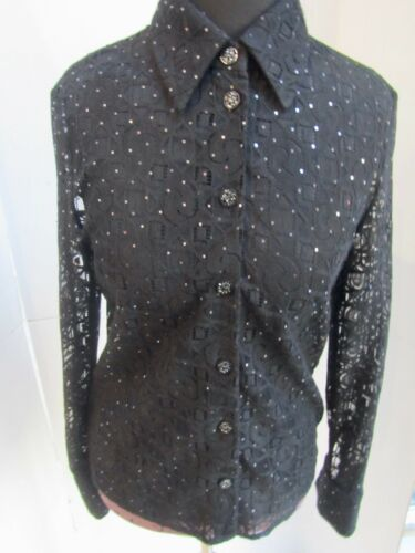 St. John Black Lace Semi-Sheer Sparkly Button Down